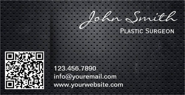 metal qr code plastic surgeon business card