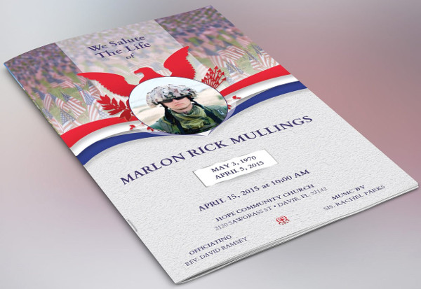 military funeral service brochure