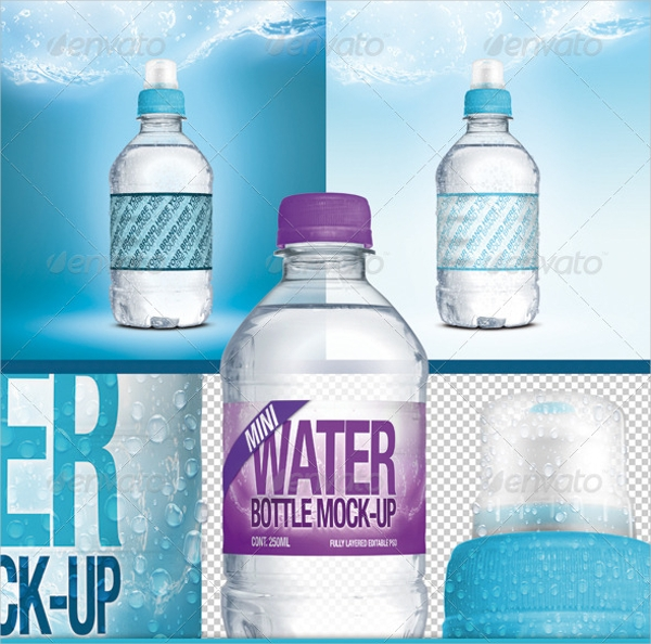 mini fresh water bottle label