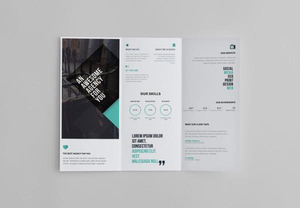 minimal professional tri fold brochure