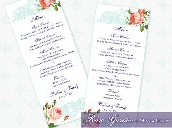 mint color reception menu template