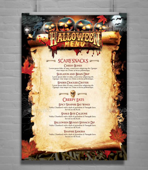 modern halloween party menu template
