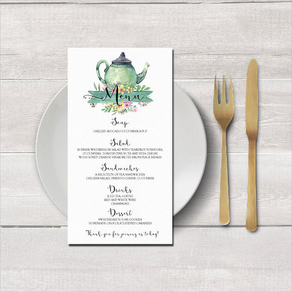 modern tea party menu design
