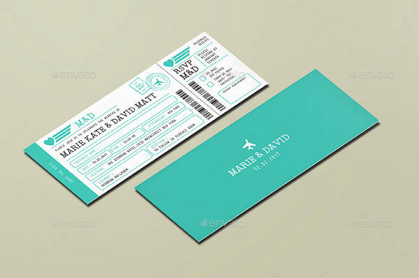 modern wedding ticket template
