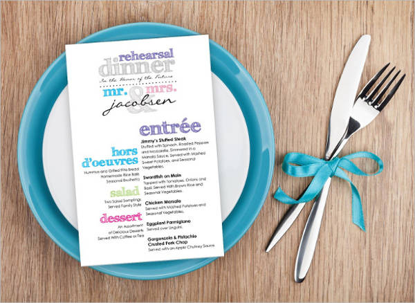 multi colored rehearsal dinner menu template