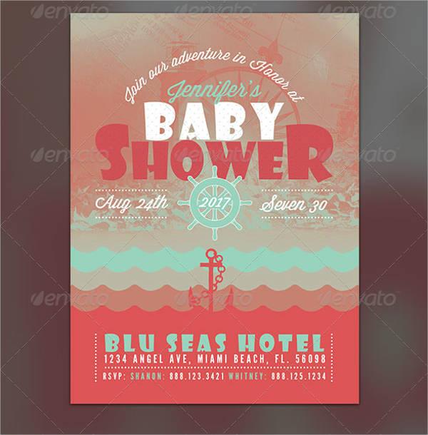 nautical baby shower flyer invite
