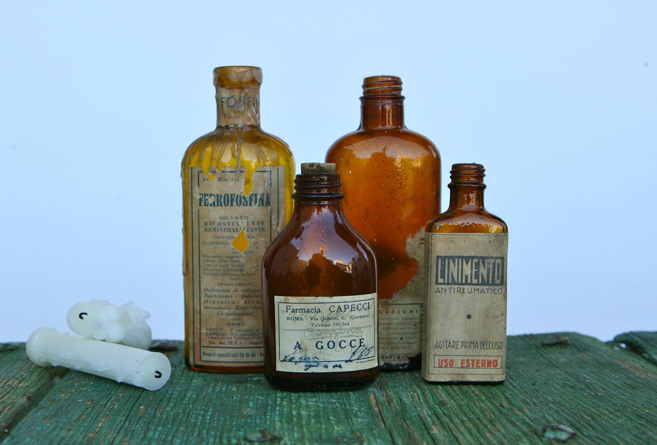 old medicine bottle label