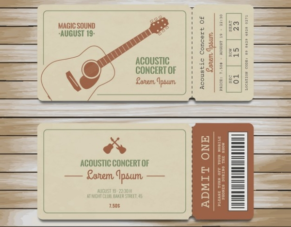 70 ticket templates for Concert ticket template psd