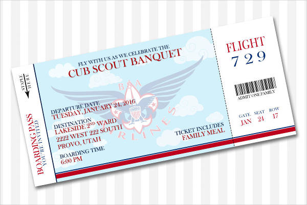 Banquet Ticket Template  Meal Ticket Template