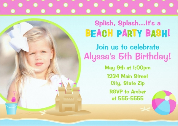 photo beach party invitation