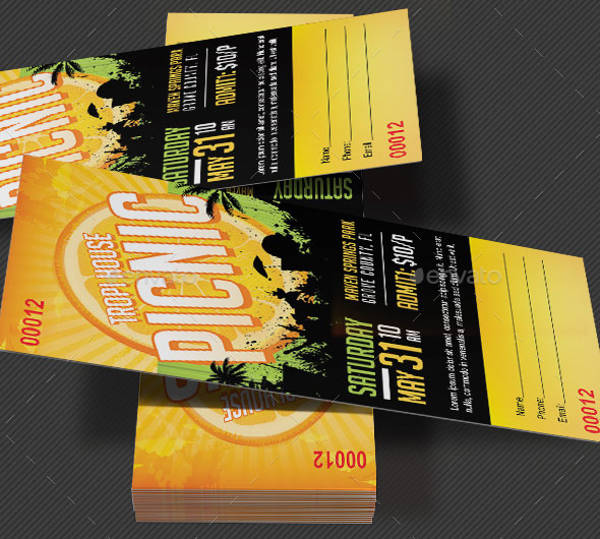 picnic party ticket template1