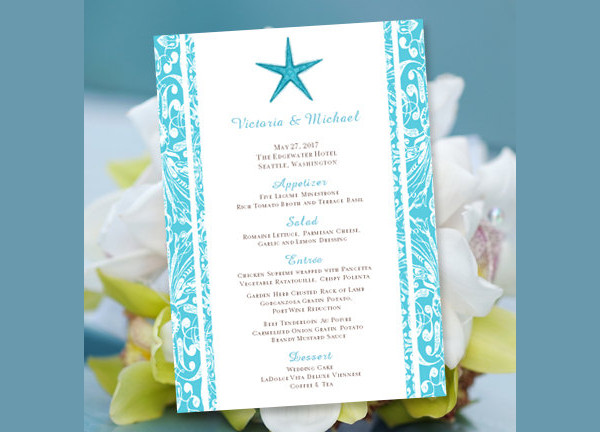 pool party food menu template