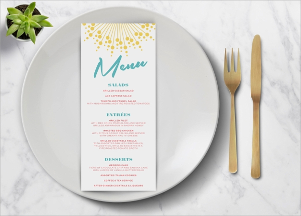 pool party wedding menu template