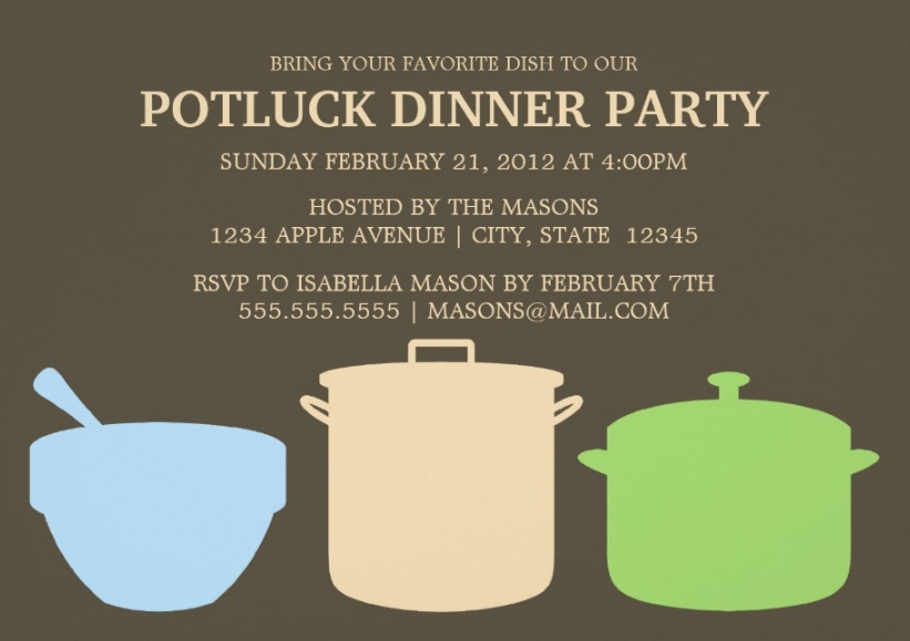 potluck dinner party invitation wording