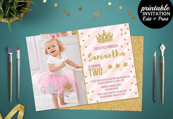 princess party invitation psd