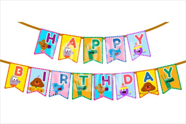 printable birthday flag banner