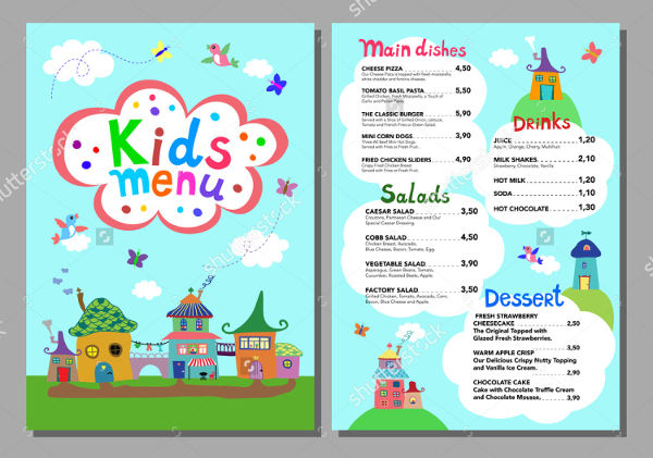 printable children's party menu design
