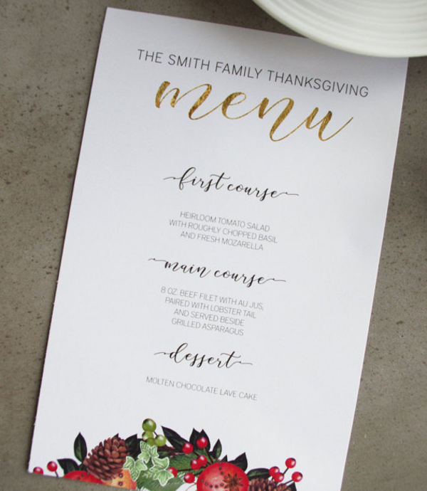 printable holiday party menu template