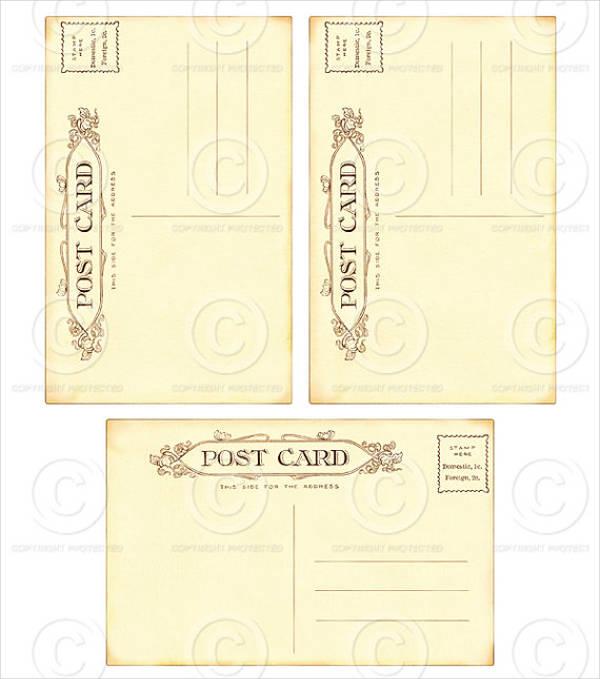 printable vintage blank postcard