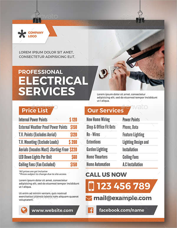 professional electrical business flyer