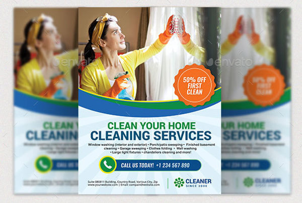 professional and cleaning business flyer