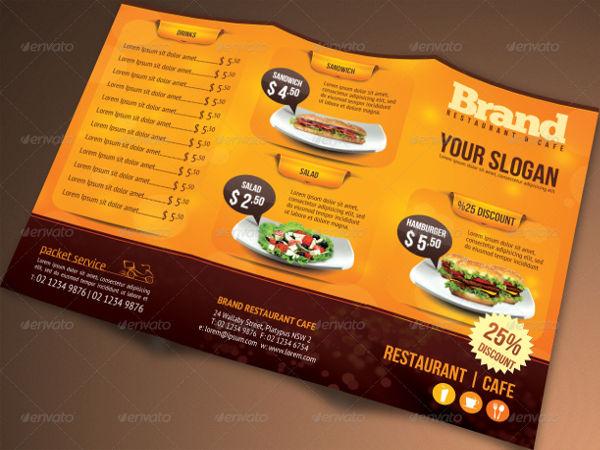 restaurant menu bi fold brochure