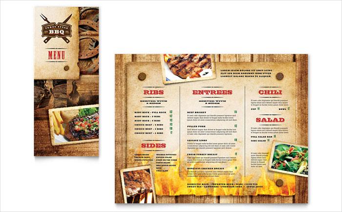 restaurant take out tri fold brochure