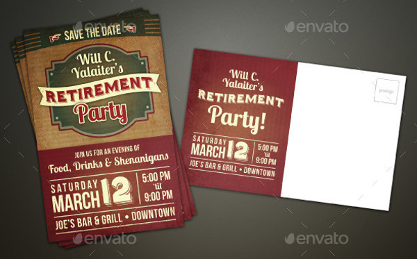 retirement party postcard invitation