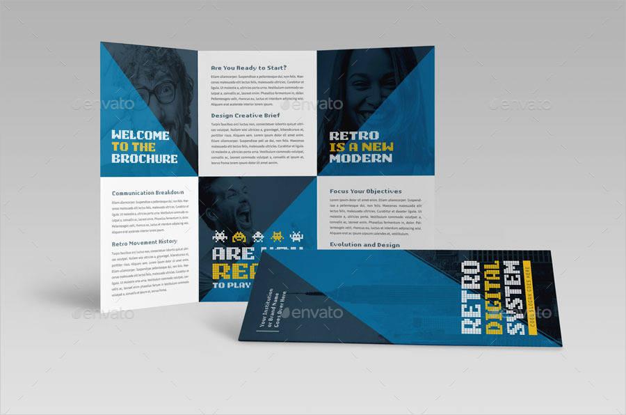 retro digital trifold brochure