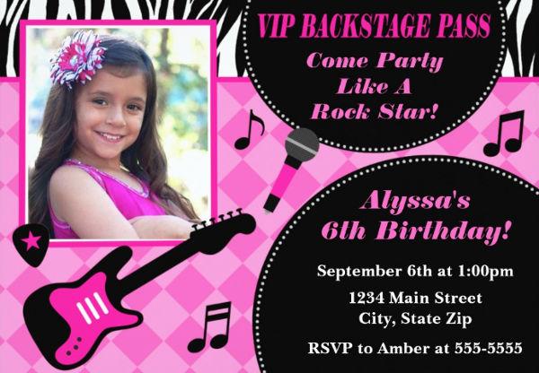 rockstar princess party invitation