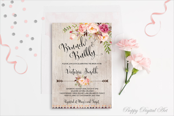 rustic bridal shower party invitation