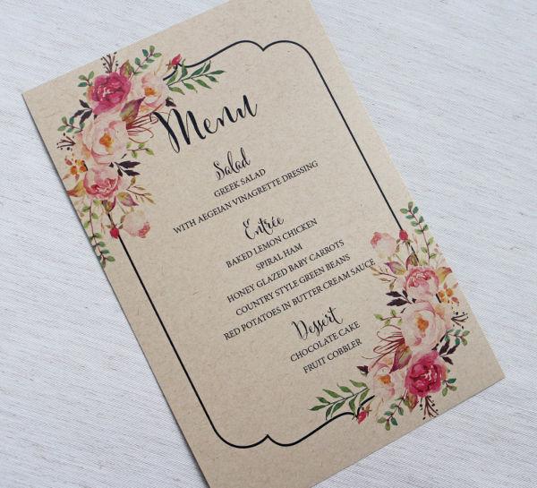 rustic floral wedding menu template