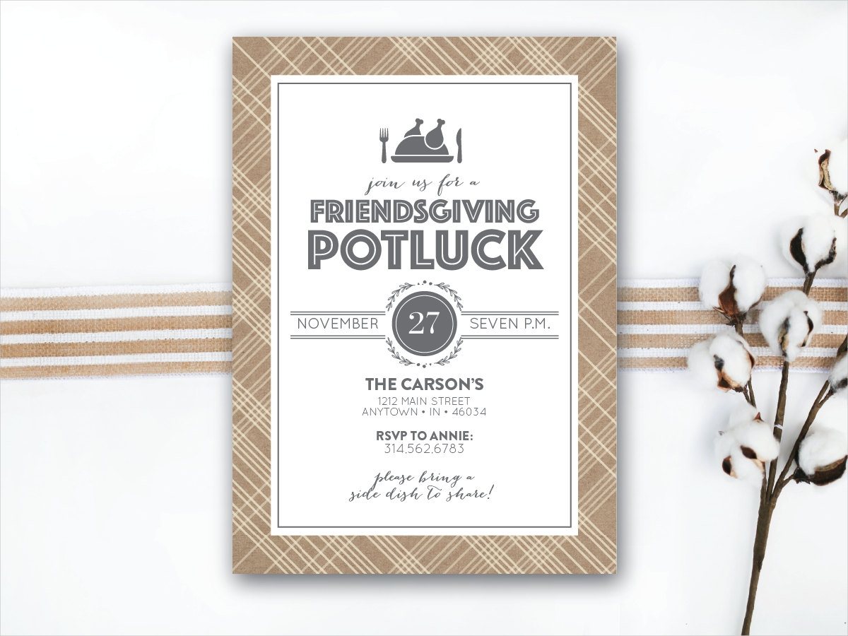 rustic potluck party invitation