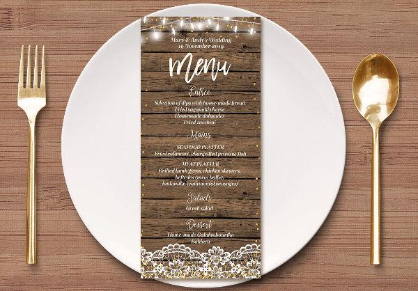 rustic wedding reception menu template