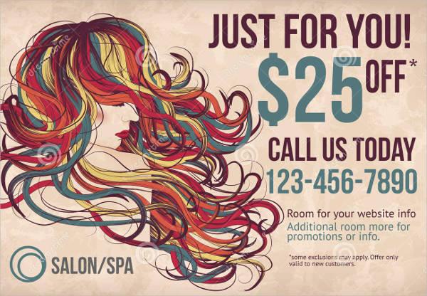 salon advertising postcard template