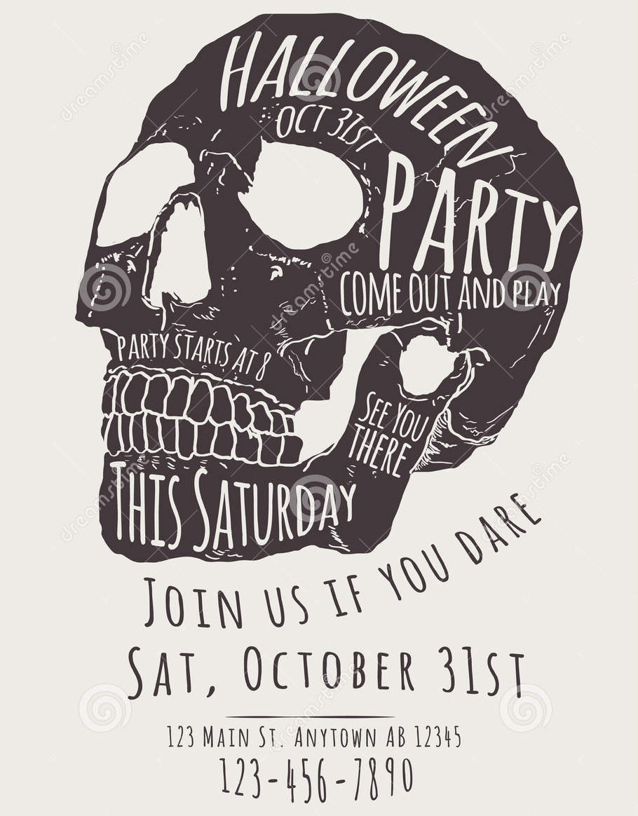 scary halloween party flyer1