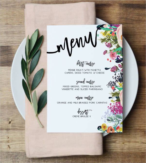spring floral event menu template