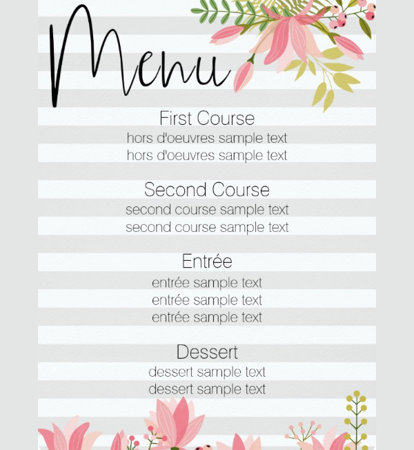 Sample Party Menu Template Printable Black Menu Template