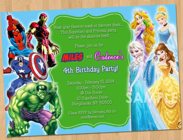 superhero and princess party invitation