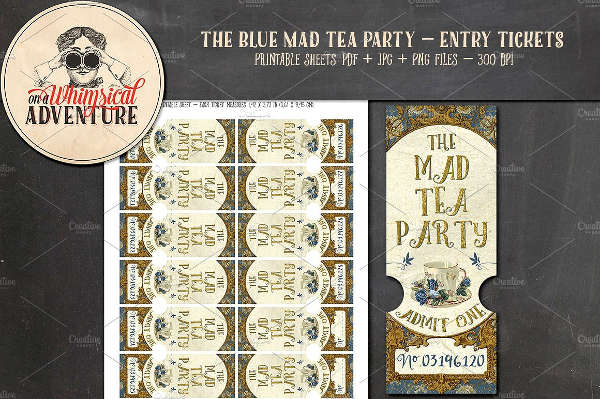 tea party ticket template