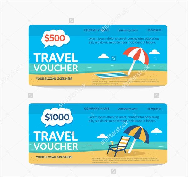 travel gift voucher vector flat