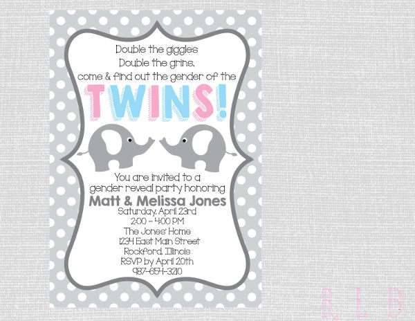 twin gender reveal party invitation