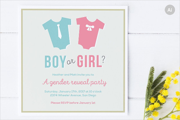 unique gender reveal party invitation