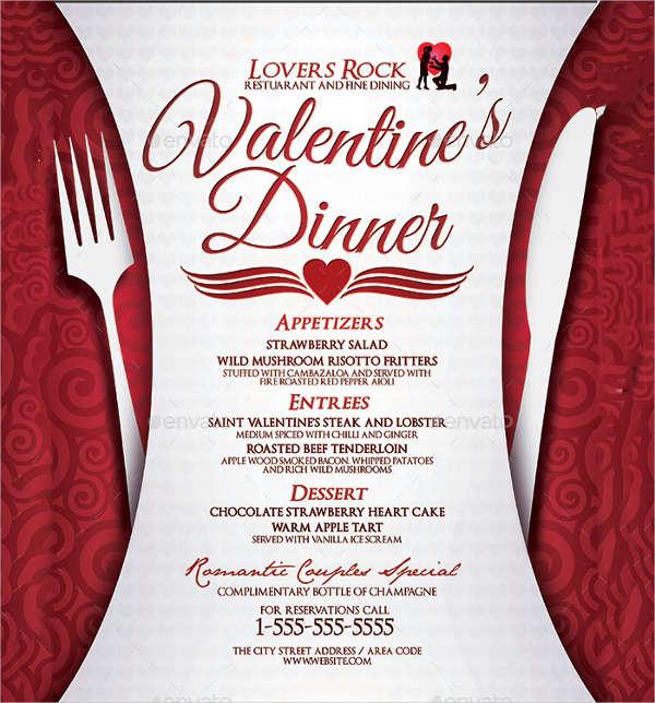 valentine's dinner menu template