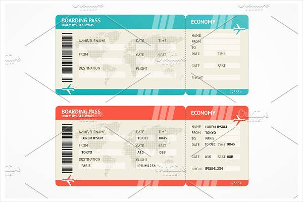 vector airline ticket template
