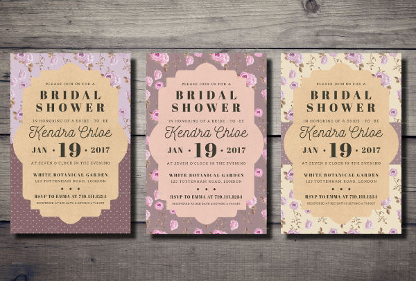 vintage bridal shower party invitation
