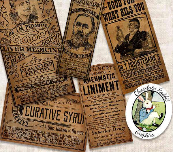 vintage medicine bottle label