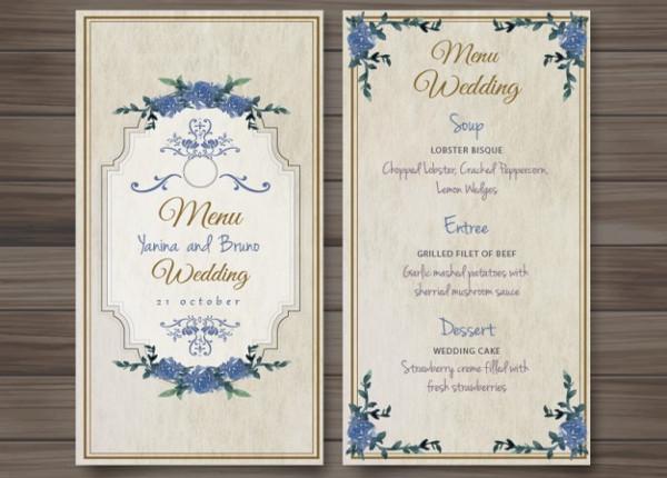 vintage old fashioned wedding menu