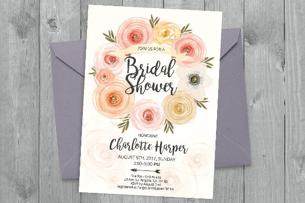 watercolor bridal shower party invitation