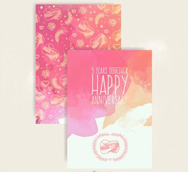watercolor wedding anniversary card